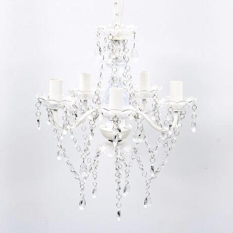Hommoo Lámpara de araña de cristal 5 bombillas transparente