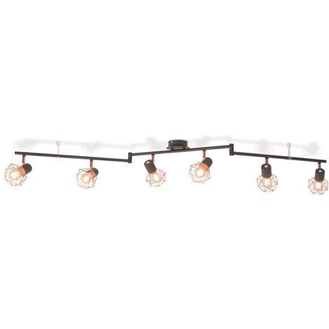 Hommoo Lámpara de techo con 6 focos E14 negra y cobre