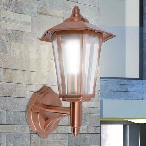Hommoo Lámpara farol de pared para exterior acero inoxidable color cobre