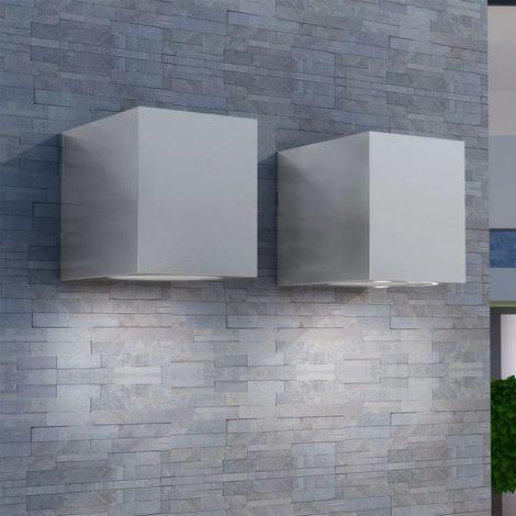 Hommoo Lámparas de pared cúbicas para exteriores 2 piezas