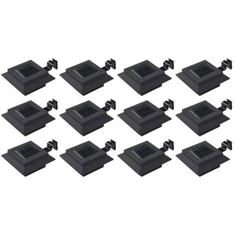 Hommoo Lámparas solares LED de exterior 12 uds. cuadradas 12 cm negro