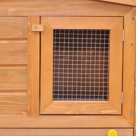 Hommoo Large Rabbit Hutch Small Animal House Pet Cage with Roofs Wood QAH06901