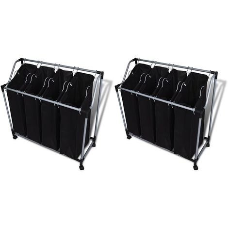 Hommoo Laundry Sorters with Bags 2 pcs Black and Grey VD18930