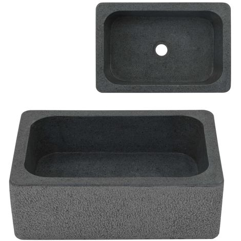 Hommoo Lavabo 45x30x15 cm de piedra de río negro