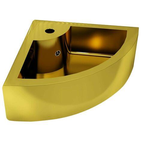 """main image of """"Hommoo Lavabo con rebosadero 45x32x12,5 cm cerámica dorado"""""""