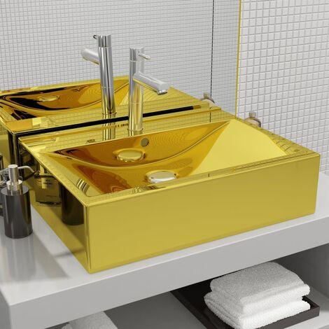 Hommoo Lavabo con rebosadero 60x46x16 cm cerámica dorado HAXD05416