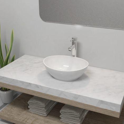 Hommoo Lavabo de baño con grifo mezclador cerámica ovalado blanco