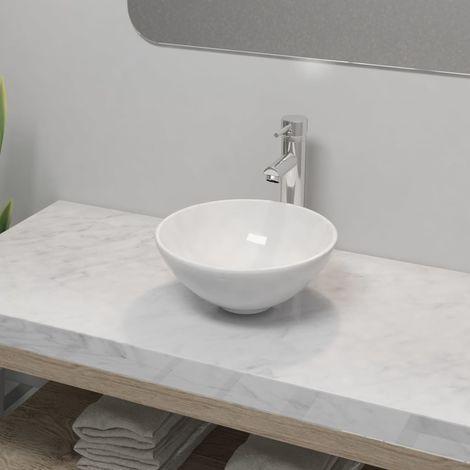 Hommoo Lavabo de baño con grifo mezclador cerámica redondo blanco