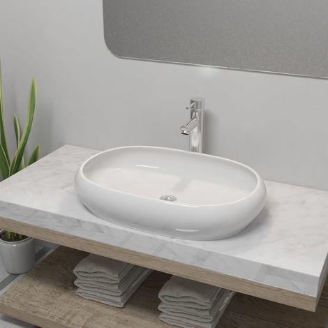 Hommoo Lavabo de baño ovalado con grifo mezclador cerámica blanco