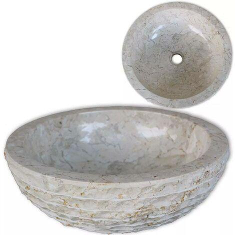 Hommoo Lavabo de mármol color crema 40 cm