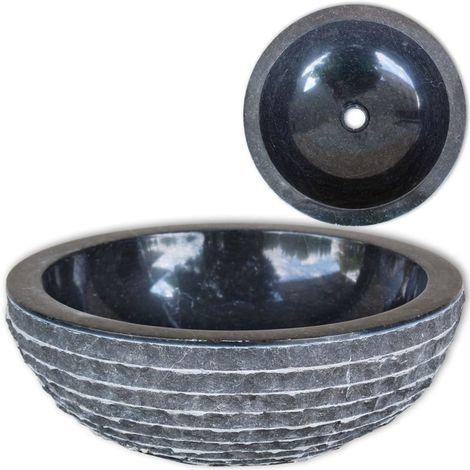 Hommoo Lavabo de mármol Negro 40 cm
