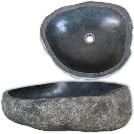 Hommoo Lavabo en pierre de rivière Ovale 30-37 cm