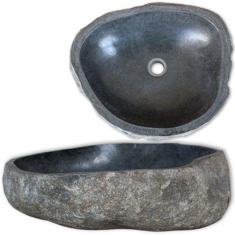 Hommoo Lavabo en pierre de rivière Ovale 38-45 cm