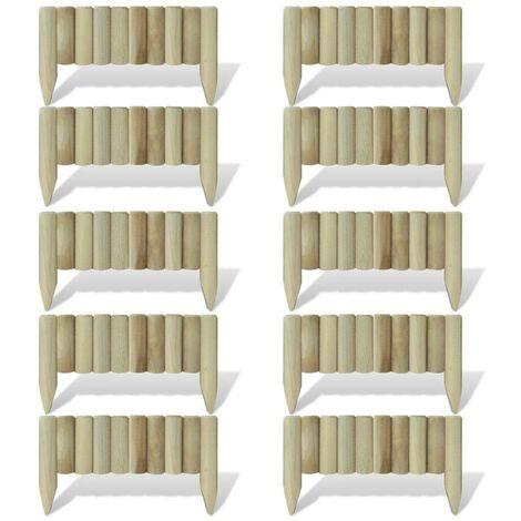 Hommoo Lawn Log Panels 10 pcs FSC Wood 60 cm VD26475