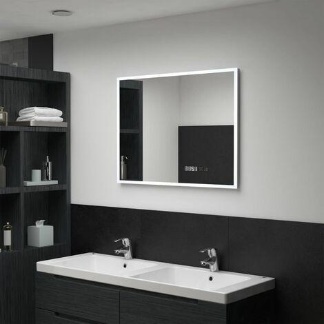 Hommoo LED-Badspiegel mit Touch-Sensor und Zeitanzeige 80x60 cm DDH34949