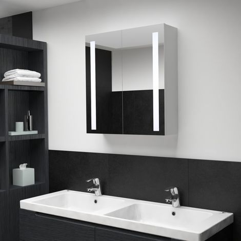 Hommoo LED Bathroom Mirror Cabinet 62x14x60 cm