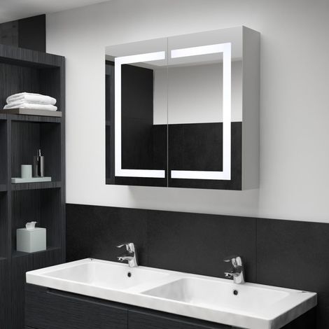 Hommoo LED Bathroom Mirror Cabinet 80x12.2x68 cm