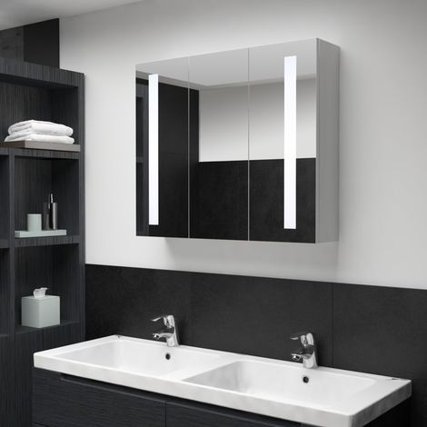Hommoo LED Bathroom Mirror Cabinet 89x14x62 cm