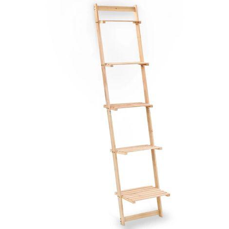 Hommoo Leiter-Wandregal aus Zedernholz 41,5x30x176 cm VD12369