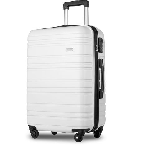 "Hommoo Lightweight Hard Shell 4 Wheel Travel Trolley Suitcase Luggage Set Holdall Cabin Case (20"", White) B2B00397"