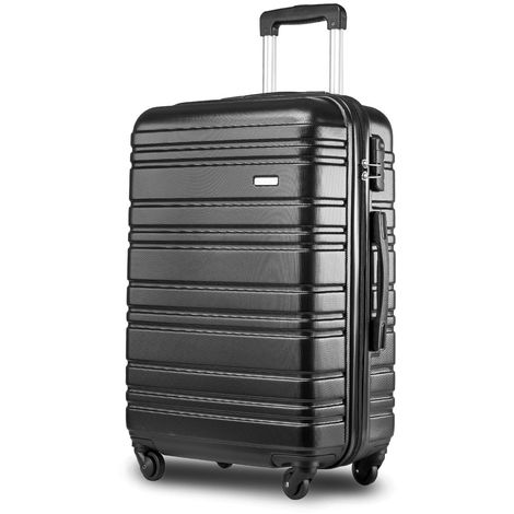 "Hommoo Lightweight Hard Shell 4 Wheel Travel Trolley Suitcase Luggage Set Holdall Cabin Case (24"", Black) B2B00398"