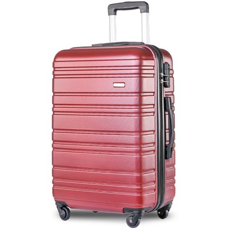 """Hommoo Lightweight Hard Shell 4 Wheel Travel Trolley Suitcase Luggage Set Holdall Cabin Case (24"""", Red)"""