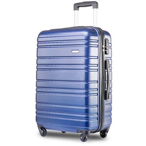 """Hommoo Lightweight Hard Shell 4 Wheel Travel Trolley Suitcase Luggage Set Holdall Cabin Case (28"""", Blue)"""