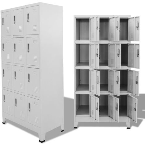 Hommoo Locker Cabinet with 12 Compartments 90x45x180 cm