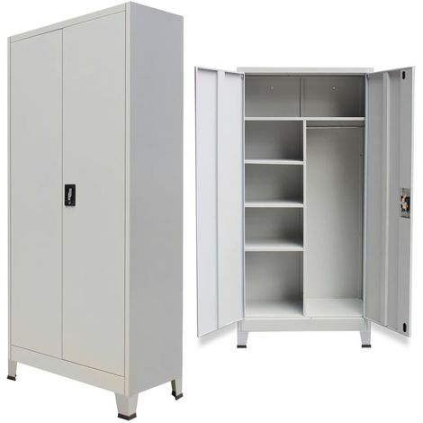 Hommoo Locker Cabinet with 2 Doors Steel 90x40x180 cm Grey