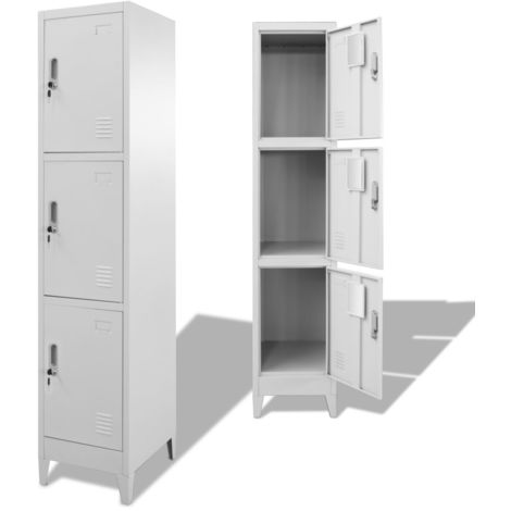 Hommoo Locker Cabinet with 3 Compartments 38x45x180 cm