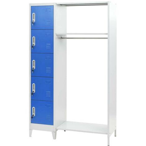 Hommoo Locker Cabinet with Coat Rack Blue and Grey 110x45x180 cm Metal