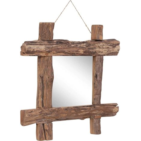 Hommoo Log Mirror Natural 50x50 cm Solid Reclaimed Wood