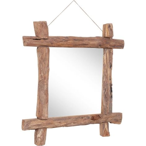 Hommoo Log Mirror Natural 70x70 cm Solid Reclaimed Wood