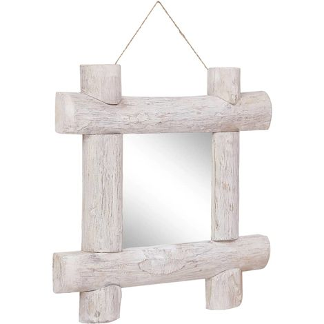 Hommoo Log Mirror White 50x50 cm Solid Reclaimed Wood