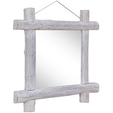Hommoo Log Mirror White 70x70 cm Solid Reclaimed Wood