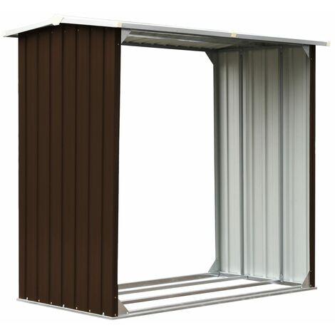 Hommoo Log Storage Shed Galvanised Steel 172x91x154 cm Brown QAH30204