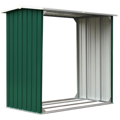 Hommoo Log Storage Shed Galvanised Steel 172x91x154 cm Green QAH30203