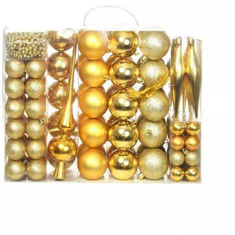 Hommoo Lote de bolas de Navidad 113 unidades doradas 6 cm