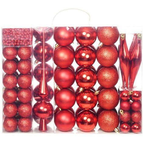 Hommoo Lote de bolas de Navidad 113 unidades rojas 6 cm
