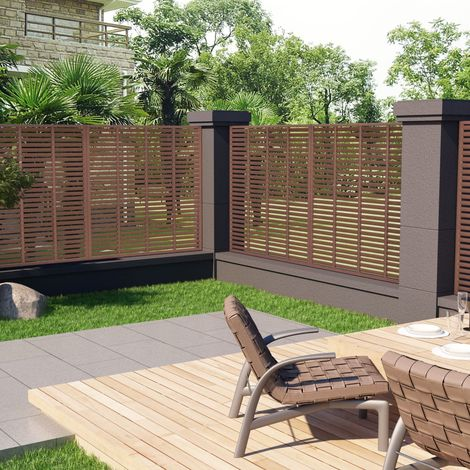 Hommoo Louver Fence WPC 170x170 cm Brown VD46858