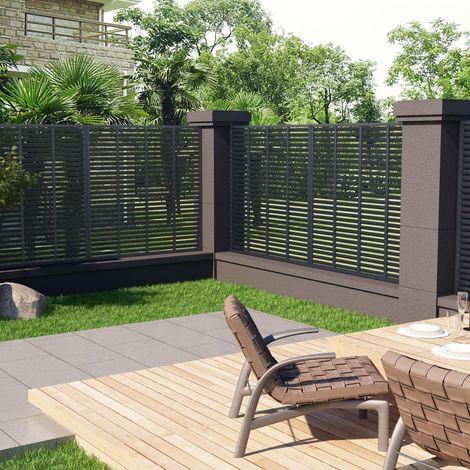 Hommoo Louver Fence WPC 170x170 cm Grey