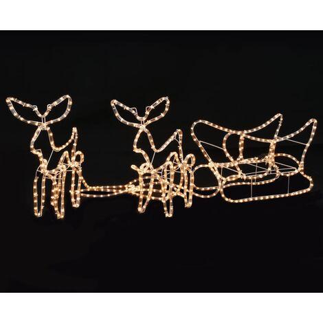 Hommoo Luces de Navidad 2 renos y trineo 300x24x47 cm HAXD12209
