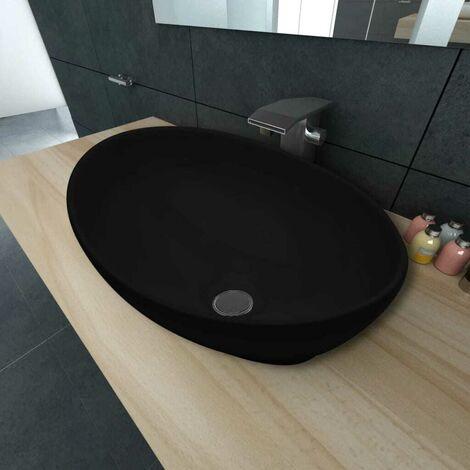 Hommoo Luxury Ceramic Basin Oval-shaped Sink Black 40 x 33 cm VD03668