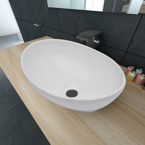 Hommoo Luxury Ceramic Basin Oval-shaped Sink White 40 x 33 cm VD03667