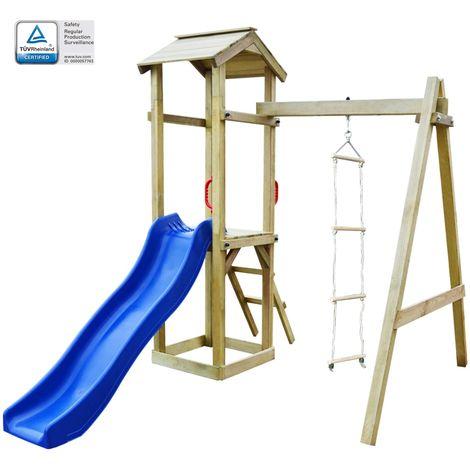 Hommoo Maison de jeu et toboggan échelles balançoire 237x168x218cm FSC
