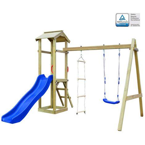 Hommoo Maison de jeu et toboggan échelles balançoire 242x237x218cm FSC