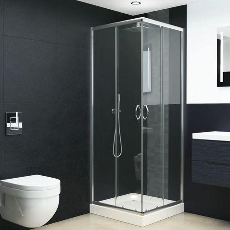 Hommoo Mampara de ducha con vidrio de seguridad 80x70x185 cm