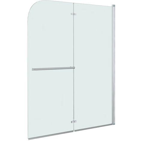 Hommoo Mampara de ducha plegable 2 paneles ESG 95x140 cm