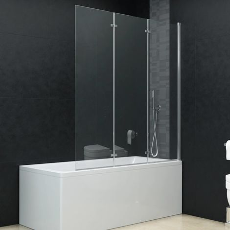 Hommoo Mampara de ducha plegable 3 paneles ESG 130x138 cm