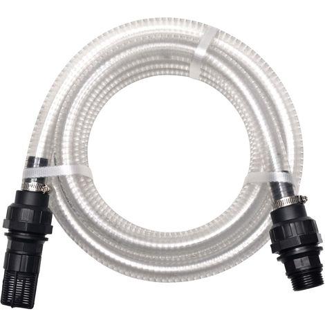 Hommoo Manguera de succión con conectores 10 m 22 mm blanca